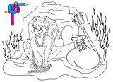 Coloring image devils cave