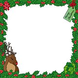 Mistletoe frame with reindeer