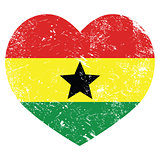 Ghana retro heart shaped flag