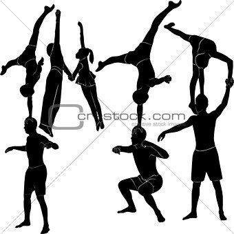 Gymnasts acrobats