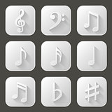 Set of icons with long shadow. Music notes