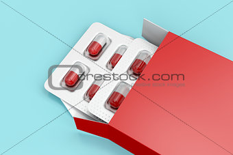Capsules in red box