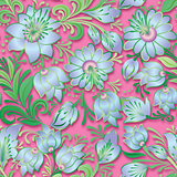 abstract vintage seamless spring floral ornament