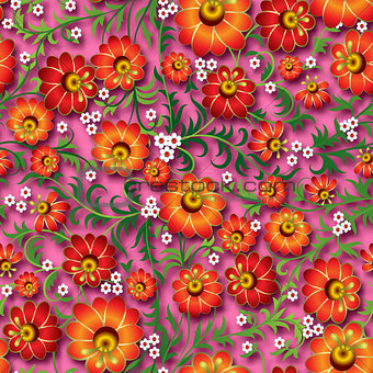 abstract vintage seamless floral ornament with spring flowers