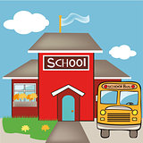 school with a bus