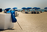 Sun umbrellas on a sandy beach