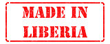 Made in Liberia - inscription on Red Rubber Stamp.