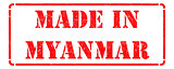 Made in Myanmar - inscription on Red Rubber Stamp.