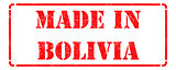 Made in Bolivia - inscription on Red Rubber Stamp.