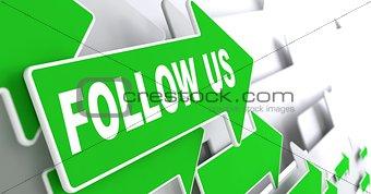 Follow Us on Green Direction Arrow Sign.