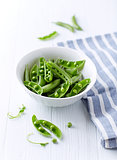 Organic Green Pea Pods in a Bowl