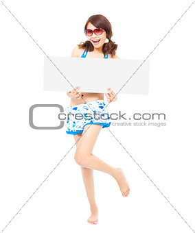 smile sunshine woman standing and holding a board