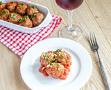 Meatballs with tomato sauce and parmesan