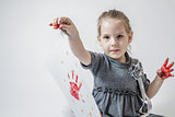 Little Girl Playing With Paint