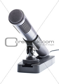 gray condenser microphone on stand