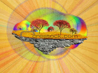 Abstract floating island with autumn trees