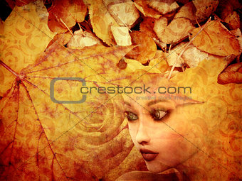 Autumn background and girl