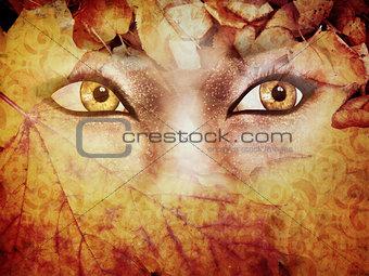 Autumn background with eyes