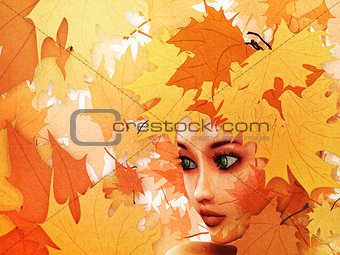 Autumn leaves and girl