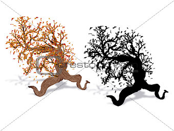 Autumn tree with silhouette