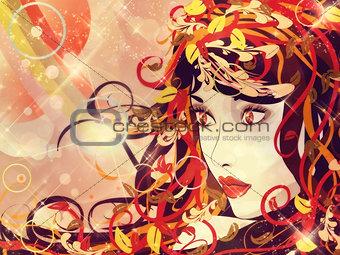 Beautiful autumn girl