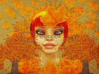 Grunge autumn girl with leaves
