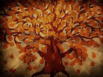 Grunge autumn oak tree