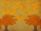 Paper with autumn trees