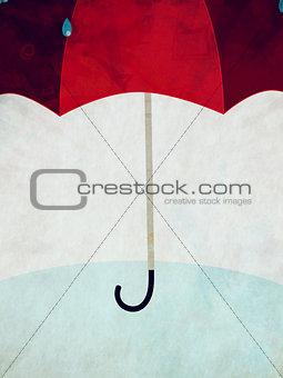 Red umbrella and rain