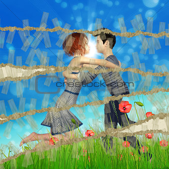 Teen couple on grass field