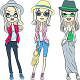 Vector beautiful fashion hipster girls in hats and glasses