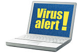 virus alert on a laptop