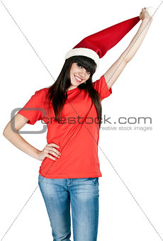 beautiful girl in the hat of Santa