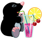 cartoon mole drinking cocktail