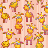 Seamless pattern with giraffes.