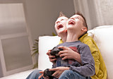two kids playing video games