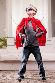 red cloak  kid livingroom superhero