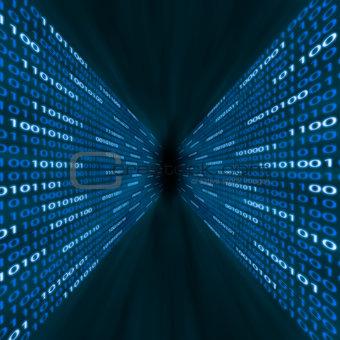 Corridor of blue binary computer code