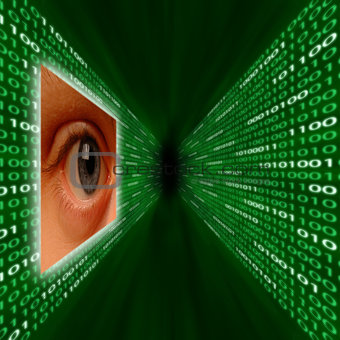 An eye monitoring a corridor of binary code
