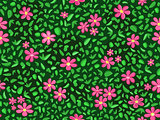 Pink flower and green leaf at seamless pattern background