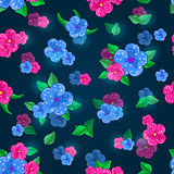 Dark Blue Floral Seamless Pattern