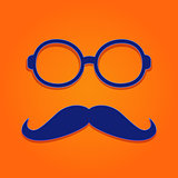Blue Frame Glasses with Moustaches
