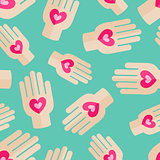 Palm Holding Pink Heart Seamless Pattern