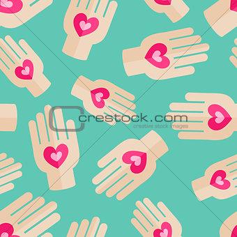 Palm Holding Pink Heart Seamless Pattern