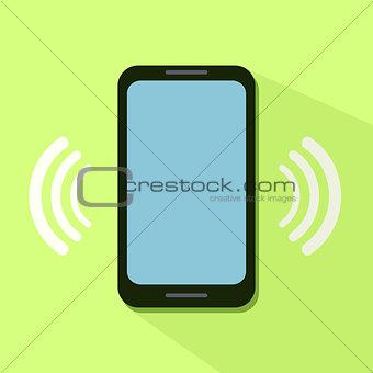 Flat Icon of Ringing Phone
