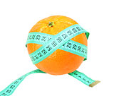 Measure tape on orange tangerine
