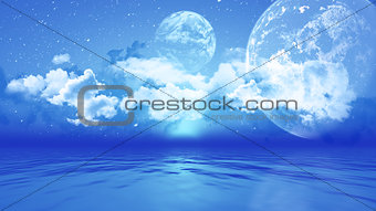 3D landscape with planets over ocean