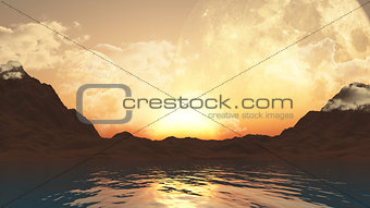 3D landscape with planets and ocean
