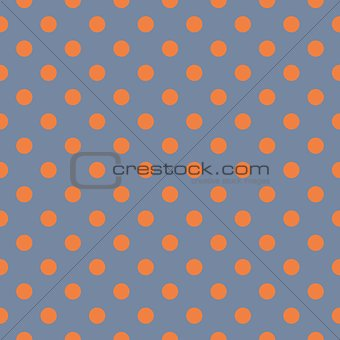 Tile vector pattern with orange polka dots on grey blue background