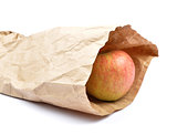 Apple in paper bag